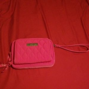 Factory style on the square wristlet in fuschia